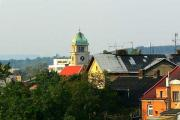 Pohled na kostel M.J.Husa z věže kostela sv.Václava