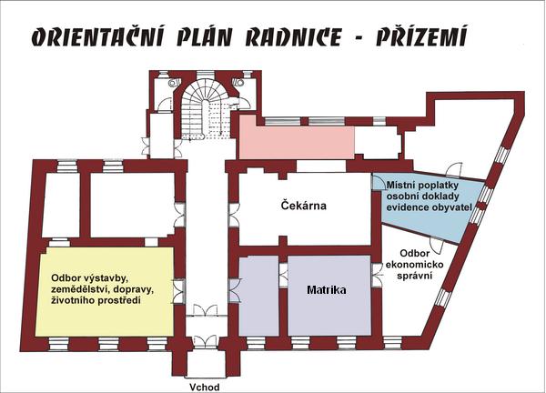 Plán přízemí radnice, obrázek se otevře v novém okně
